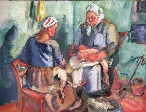 Emil Olsson (1890 - 1964) Gåsslakt, 1923, Olja på duk
