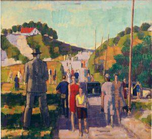 Johan Johansson (1879 - 1951) Söndag i Löderup, Olja på duk