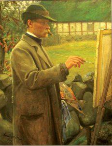 Karl Aspelin (1857 - 1932), Porträtt av konstnären Per Gummesson, 1907, Olja på duk
