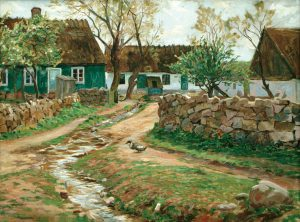 Einar Bager (1887 - 1990) Gatuparti i Vik, 1924, Olja på duk