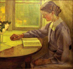 Ellen Trotzig (1879 - 1947) Flicka som läser, 1910, Olja på duk