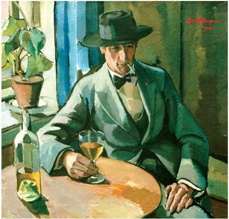 Henry Mayne (1891 - 1975) Porträtt av konstnären Richard Björklund, 1925, Olja p.d.