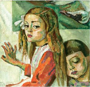 Tora Vega Holmström (1880 - 1967) Figurkomposition, 1916, Olja på duk