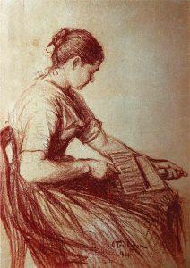 Anders Trulson (1874 - 1911) Porträtt av konstnärens mor, 1894, Rödkrita på papp