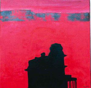 Yvonne Larsson (f. 1958) Hopper-Copperland, Olja på metall