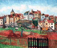 Albert Krüger (1885 - 1965) Stadsbild Carriéres, 1924, Olja på duk