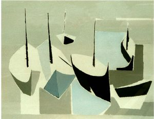 Harri Dittmer f 1910 Båtvarv, 1981, Akryl på duk