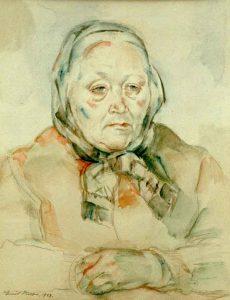 Emil Olsson (1890 - 1964) Porträtt av konstnärens mor 1943, Akvarell