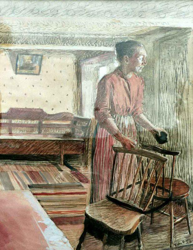 Endis Bergström (1866 - 1950) Studentuppasserska, 1926, Pastell gouache