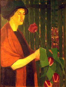 Ellen Trotzig (1897 - 1947) Självporträtt med tulpaner, Olja på duk