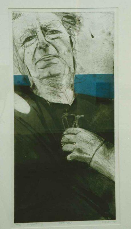 Leif Nelson Porträtt av Ingvar Holm, Färglagd etsning