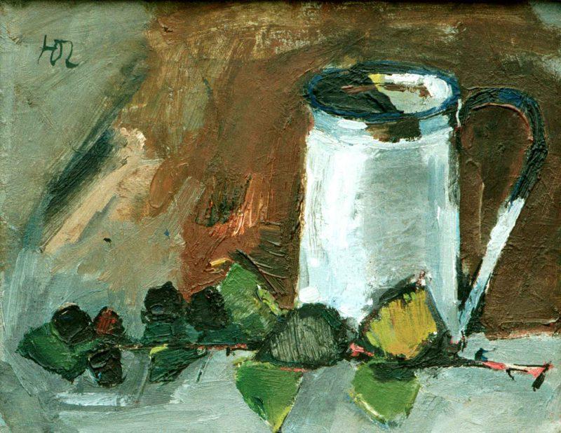 Osvald Larsson (1915 -1973) Vit kanna och björnbär, Olja på duk