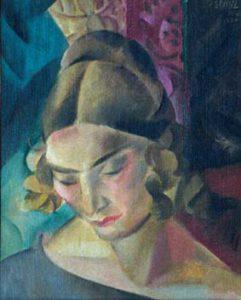 Jules Schyl (1893 - 1977) Porträtt av fru Antonsson, 1924, Olja på duk