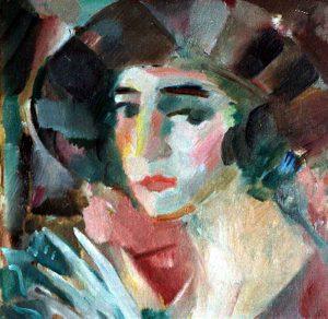 Jules Schyl (1893 - 1977) Porträtt, 1923, Olja på duk