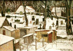 Torsten Torstenson (1901 - 1974) Vid kyrkogårdsmuren, 1954, Olja på pannå