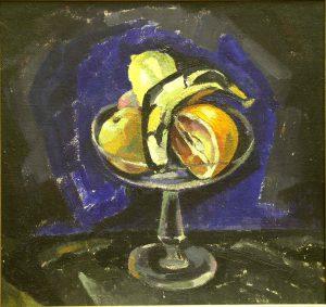 Tora Vega Holmström (1880 - 1967) Fruktskål mot blå fond, 1924