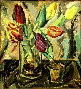 Tora Vega Holmström (1880 - 1967) Jultulpaner, Olja på duk