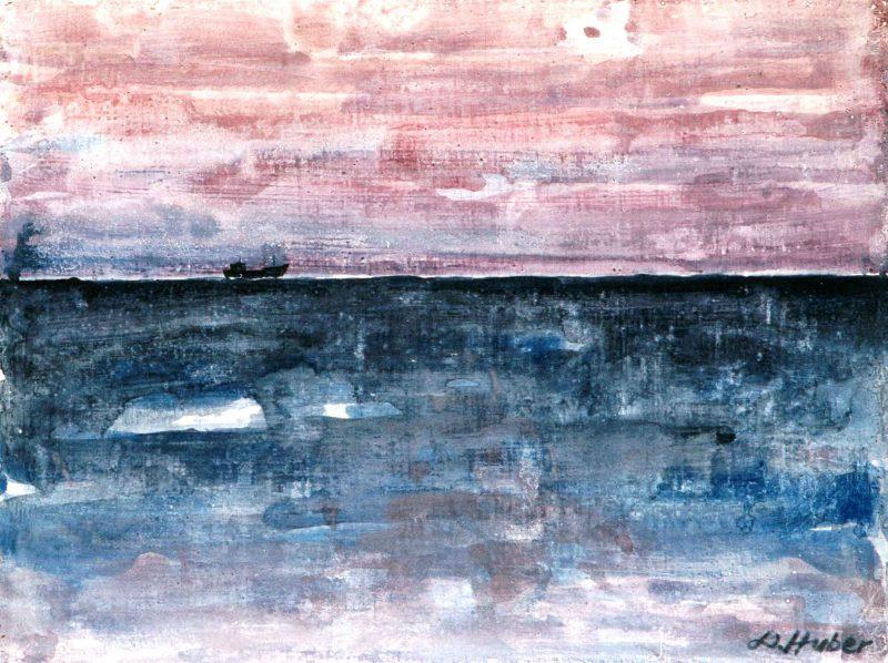 Walter Huber (f. 1933) Solnedgång, Akvarell