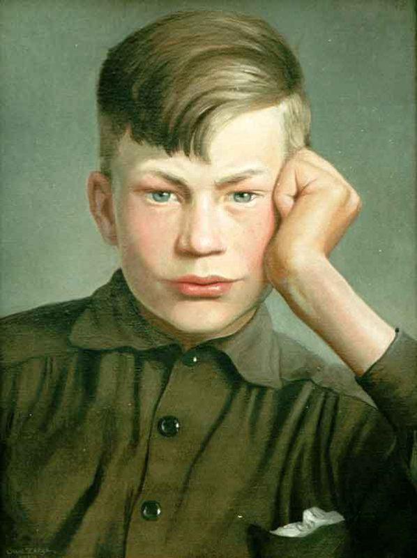 Owe Zerge (1894 - 1983) Porträtt, 1928, Olja på duk
